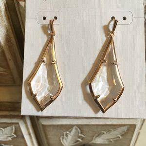 Kendra Scott Olivia Earrings Clear Glass Rose Gold